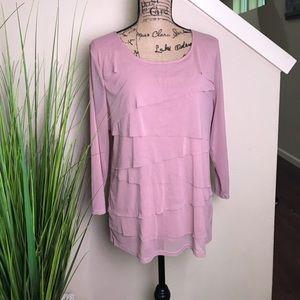 Tiered alfani blouse, long sleeve, rose pink